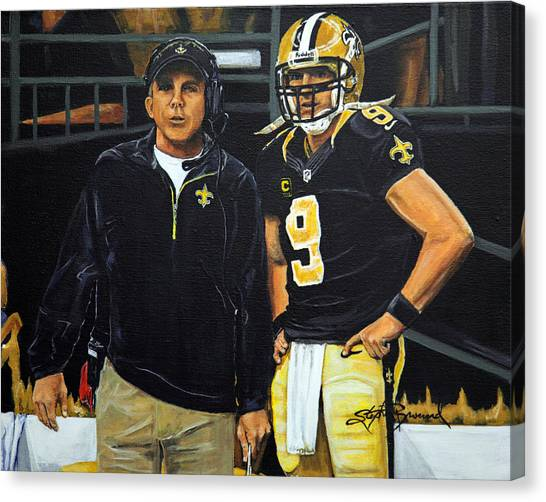 Drew Brees Canvas Print - Saints Dynamic Duo by Stephen Broussard