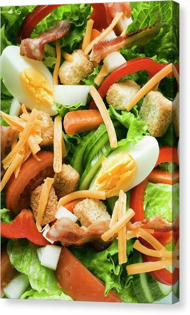 Eggs And Bacon Canvas Print - Salad Leaves With Vegetables, Egg, Cheese, Bacon And Croutons by Foodcollection