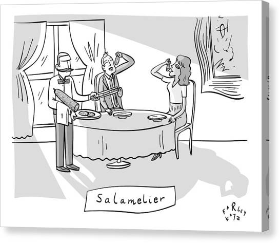 Salamlier -- A Waiter Slices Salami For Two Canvas Print
