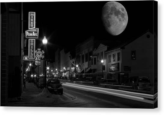 Salem Ohio Winter Moon Canvas Print