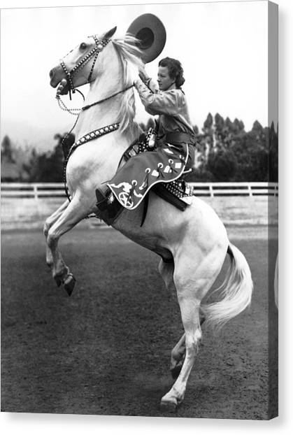 Hat Trick Canvas Print - Salinas Rodeo Cowgirl by Underwood Archives