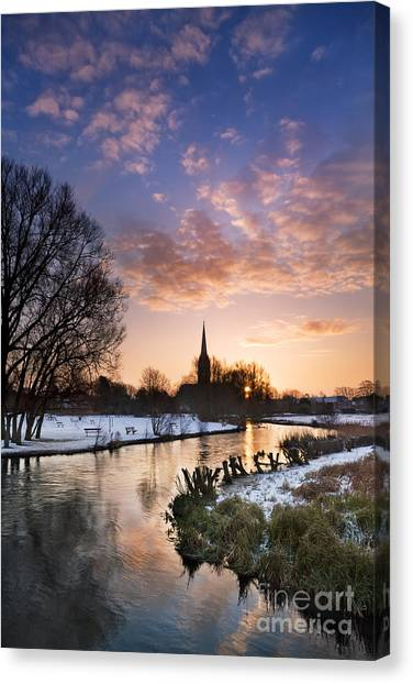Snow Bank Canvas Print - Salisbury Cathedral 1 by Rod McLean