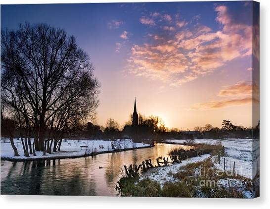 Snow Bank Canvas Print - Salisbury Cathedral 2 by Rod McLean