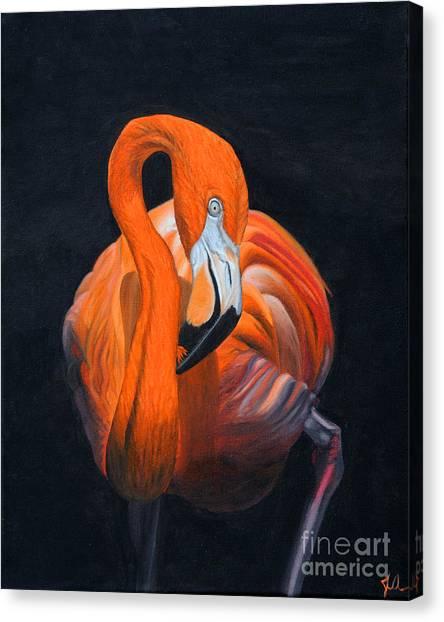 Sally The Flamingo Canvas Print