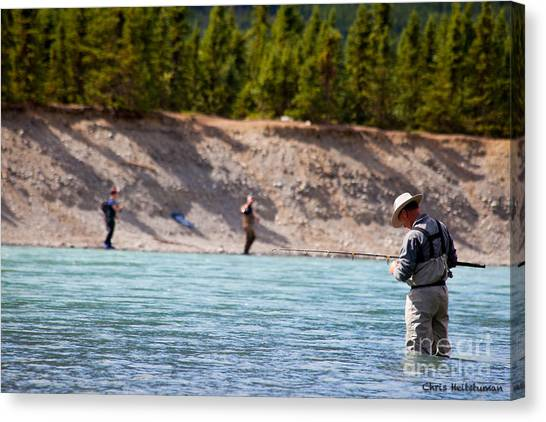 Salmon Fishing Canvas Print by Chris Heitstuman