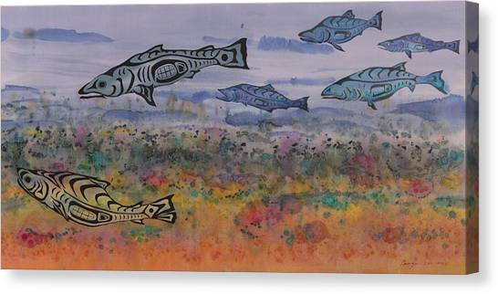 Salmon In The Stream Canvas Print