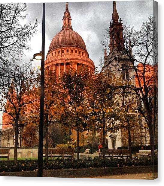 Wrens Canvas Print - Salmon Pink St Paul's #pink #morning by Alex Nisbett