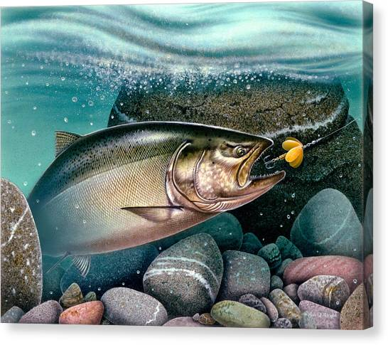 Angling Art Canvas Print - Salmon Stream by JQ Licensing