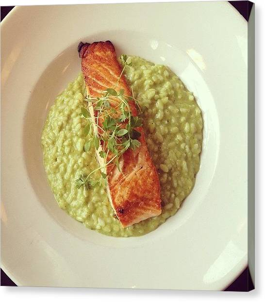 Salmon Canvas Print - Salmon With Pesto Risotto. #glutenfree by Brooklyn Cole