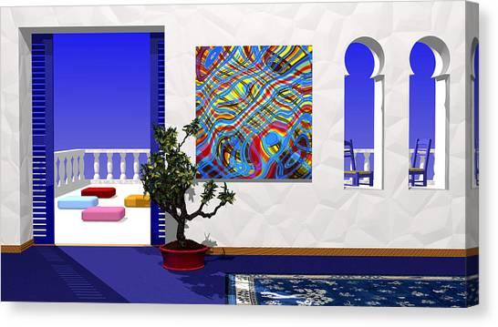 Salon Bleu Canvas Print
