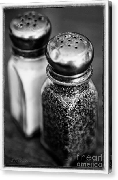 Salt Canvas Print - Salt And Pepper Shaker  Black And White by Iris Richardson