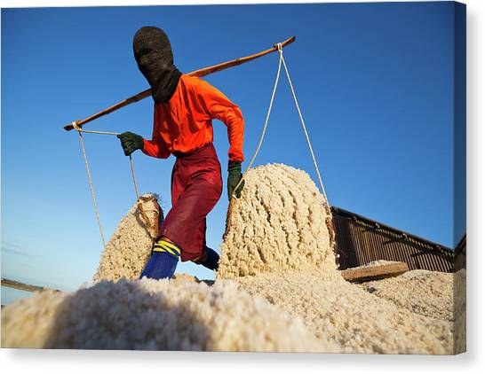 Protective Clothing Canvas Print - Salt Farm Worker, Thailand by Monthon Wa