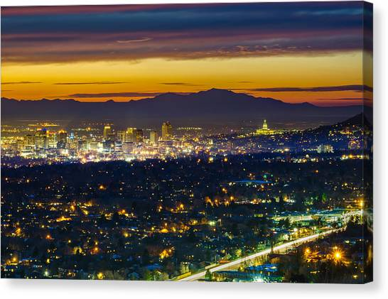 Salt Lake City At Dusk Canvas Print