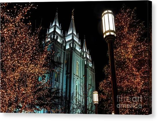 Salt Lake City Mormon Temple Christmas Lights Canvas Print