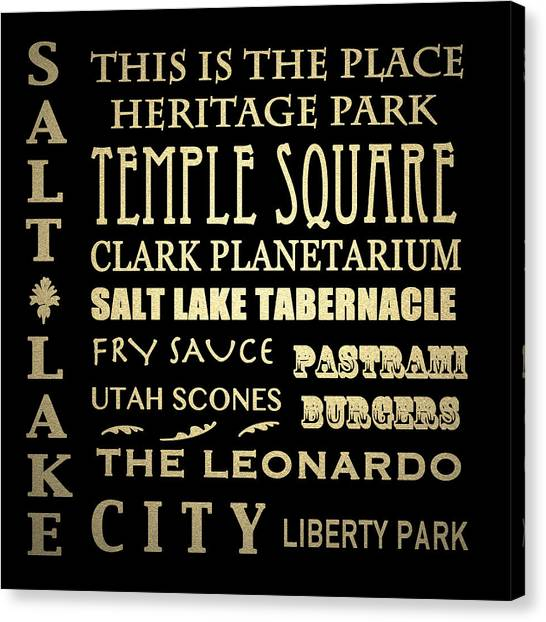 Famous Places Canvas Print - Salt Lake City Famous Landmarks by Patricia Lintner