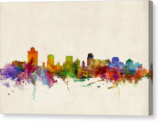 Salt Canvas Print - Salt Lake City Skyline by Michael Tompsett