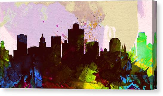 Salt Canvas Print - Salt Lake City Skyline by Naxart Studio