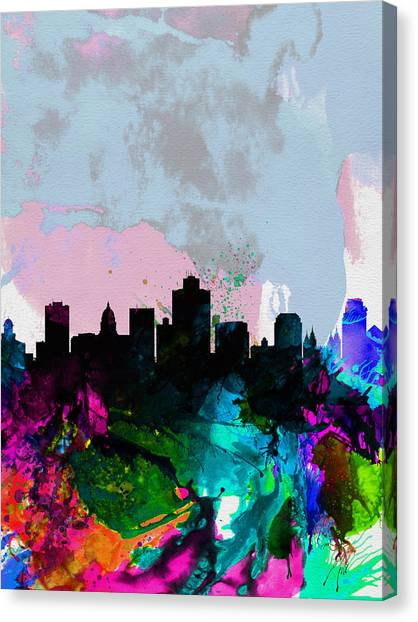 Salt Canvas Print - Salt Lake City Watercolor Skyline by Naxart Studio