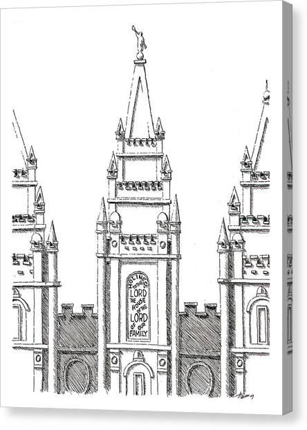 Salt Lake Temple Canvas Print by Aaron Bodtcher