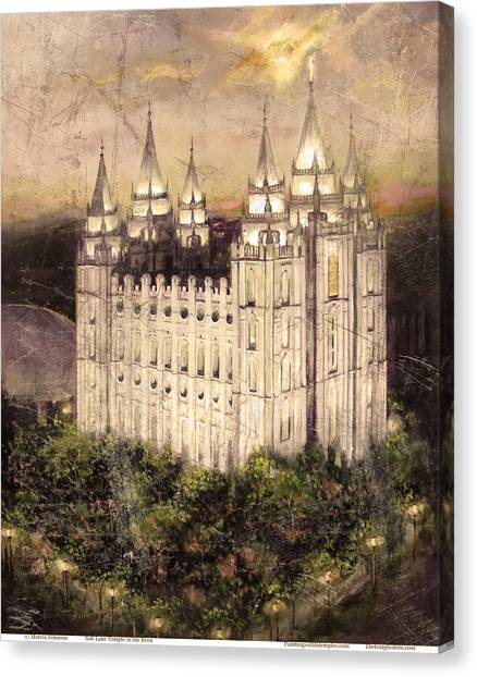 Salt Lake Temple In The Evening  Antique Pink Canvas Print
