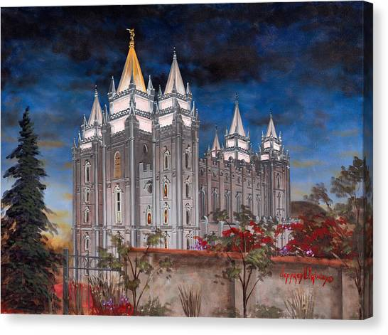 Temple Canvas Print - Salt Lake Temple by Jeff Brimley