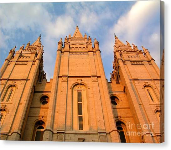 Salt Lake Temple Sunset Closeup Canvas Print by Jenny Wood