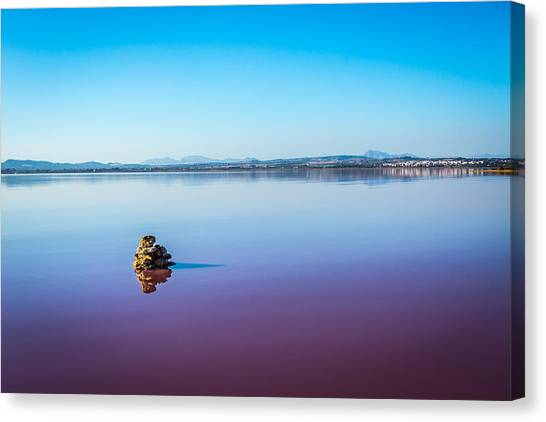 Canvas Print featuring the photograph Salt Lake Torrevieja. by Gary Gillette