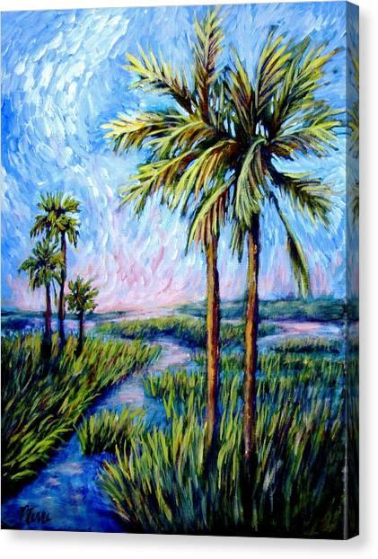 Salt Marsh Palms Canvas Print by Sebastian Pierre