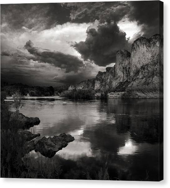 Salt River Stormy Black And White Canvas Print
