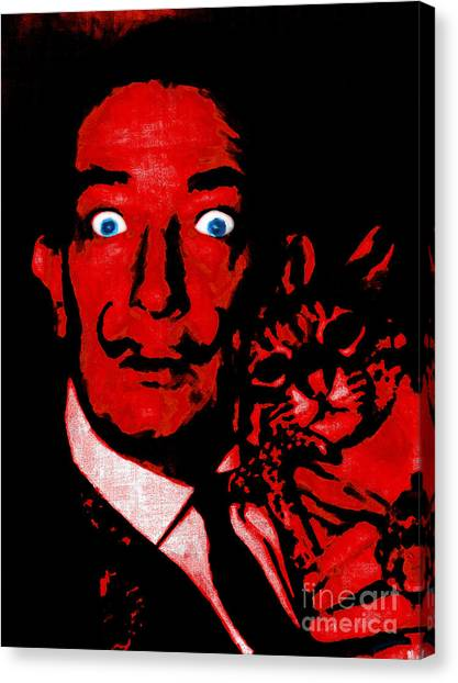 Dada Art Canvas Print - Salvador Dali And Friend 20130212v2 by Wingsdomain Art and Photography