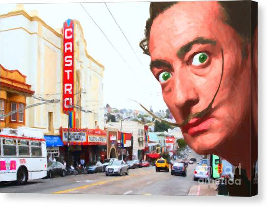 Dada Art Canvas Print - Salvador Dali Arrives In San Francisco Castro District 20141213 by Wingsdomain Art and Photography