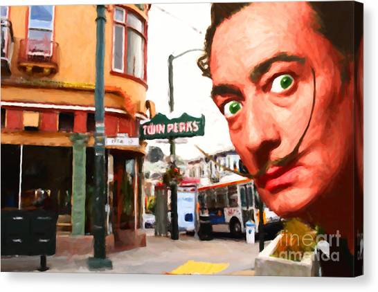 Dada Art Canvas Print - Salvador Dali Is Intrigued By Twin Peaks Bar In San Francisco Ca by Wingsdomain Art and Photography