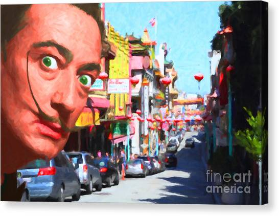 Dada Art Canvas Print - Salvador Dali Orders Take Out At San Francisco Chinatown 2014121 by Wingsdomain Art and Photography