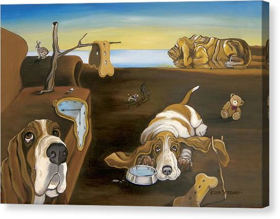 Salvador Dali Canvas Print - Salvador Doggy - The Persistence Of Basset Hound by Gretchen Kish Serrano