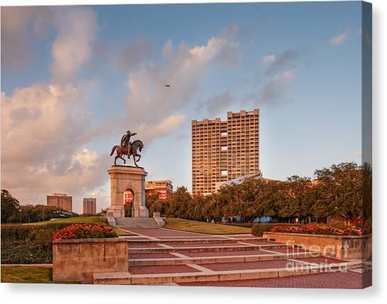 University Of Houston Canvas Print - Sam Houston Statue Bathed In Golden Hour Light - Hermann Park - Houston Texas by Silvio Ligutti