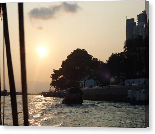 Hong Kong Canvas Print - Sampan Sunset by Catherine Laydon