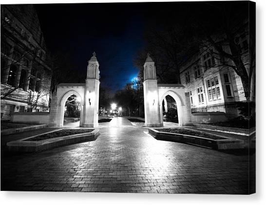 Indiana University Iu Canvas Print - Iu Bloomington Sample Gates At Night by Matailong Du