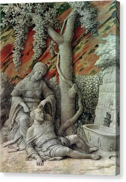 Old Testament Canvas Print - Samson And Delilah, C.1500 Glue Size On Linen by Andrea Mantegna