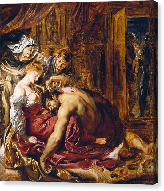 Sleeping Giant Canvas Print - Samson And Delilah, C.1609 Oil On Panel by Peter Paul Rubens