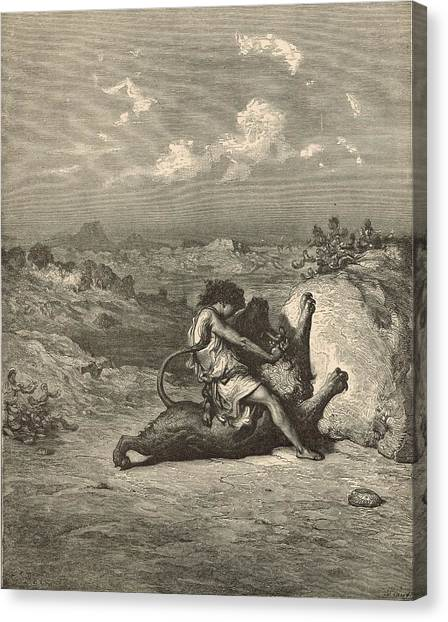Samson Slaying The Lion Canvas Print by Antique Engravings