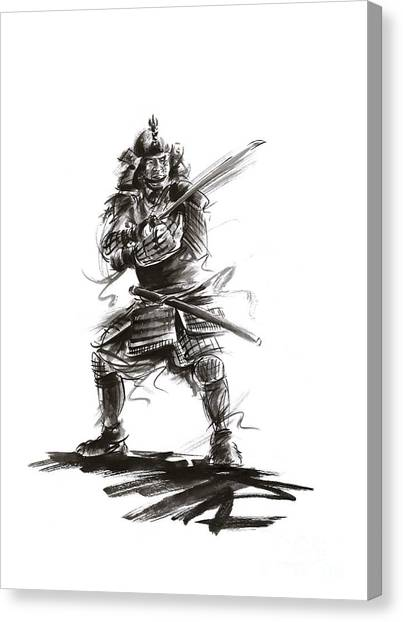 Kung Fu Canvas Print - Samurai Complete Armor Warrior Steel Silver Plate Japanese Painting Watercolor Ink G by Mariusz Szmerdt