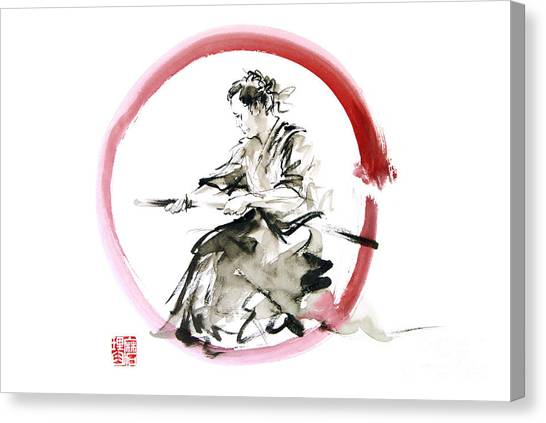 Samurai Canvas Print - Samurai Enso Bushido Way. by Mariusz Szmerdt