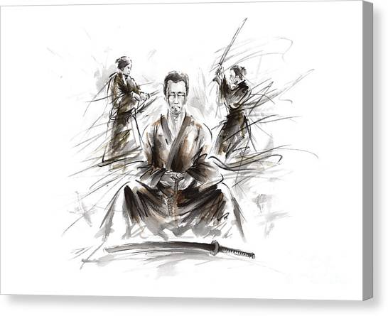 Samurai Canvas Print - Samurai Meditation. by Mariusz Szmerdt