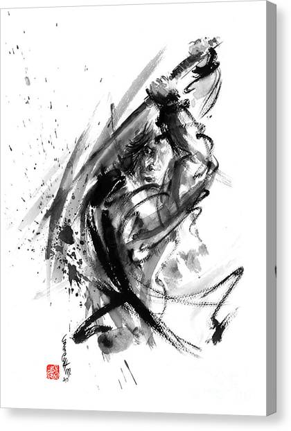 Kung Fu Canvas Print - Samurai Ronin Wild Fury Bushi Bushido Martial Arts Sumi-e Original Ink Painting Artwork by Mariusz Szmerdt