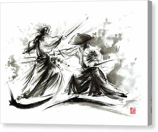 Samurai Canvas Print - Samurai Sword Bushido Katana Martial Arts Budo Sumi-e Original Ink Painting Artwork by Mariusz Szmerdt