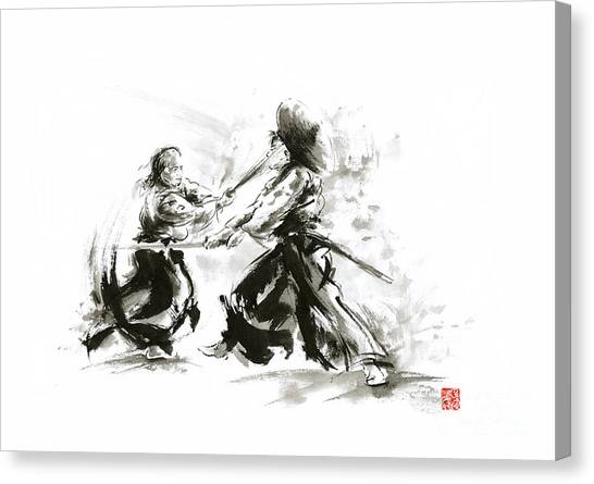Kung Fu Canvas Print - Samurai Sword Bushido Katana Martial Arts Budo Sumi-e Original Ink Sword Painting Artwork by Mariusz Szmerdt