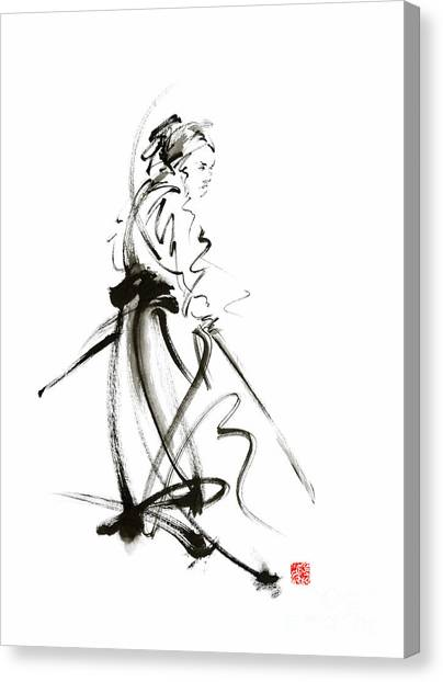 Kung Fu Canvas Print - Samurai Sword Bushido Katana Martial Arts Sumi-e Original Ink Painting Artwork by Mariusz Szmerdt
