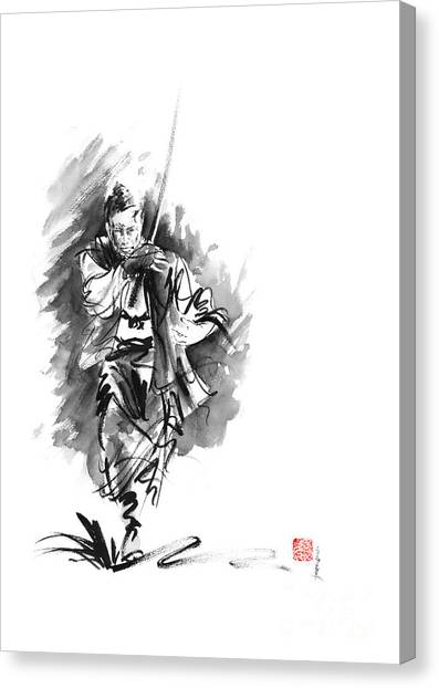 Kung Fu Canvas Print - Samurai Sword Bushido Katana Martial Arts Sumi-e Original Running Run Man Design Ronin Ink Painting  by Mariusz Szmerdt