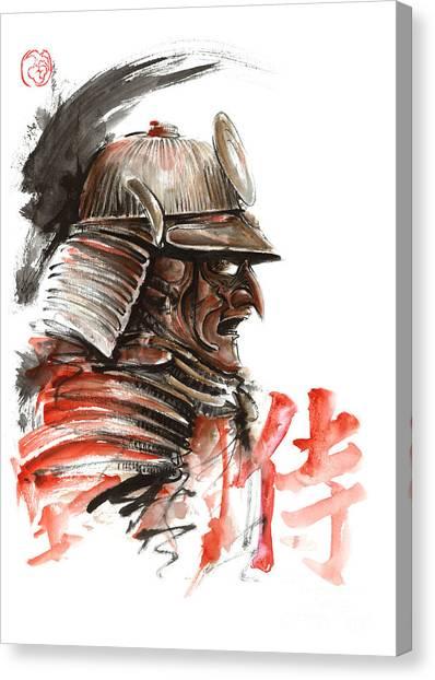 Samurai Canvas Print - Samurai Warrior  Tengu Mask  Japanese Calligraphy. by Mariusz Szmerdt