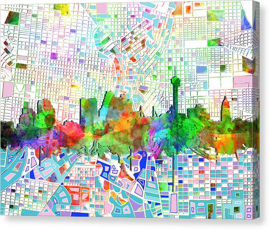 San Antonio Canvas Print - San Antonio Skyline Watercolor 6 by Bekim Art